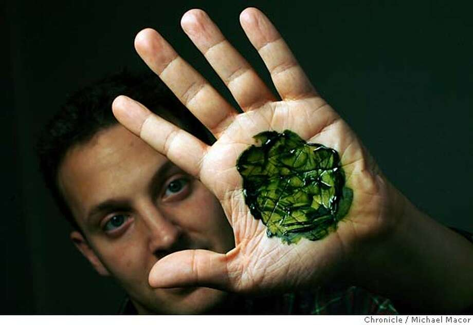 "cleantech_149_mac.jpg The algae completely harmless as shown by Jonathan Wolfson. Co-Founders Jonathan Wolfson and Harrison Dillon of the company ""Solazyme"" in Menlo Park. They are engineering a Green Micro Algae Green Micro Algae in large quantities to create clean renewable bio-fuels. Cleantech is the Silicon Valley's latest incarnation, type of tech industry focused on finding new sources of energy or using existing resources more wisely. Photographed in, San Francisco, Ca, on 3/2/07. Photo by: Michael Macor/ San Francisco Chronicle Mandatory credit for Photographer and San Francisco Chronicle No sales/ Magazines Out Photo: Michael Macor"