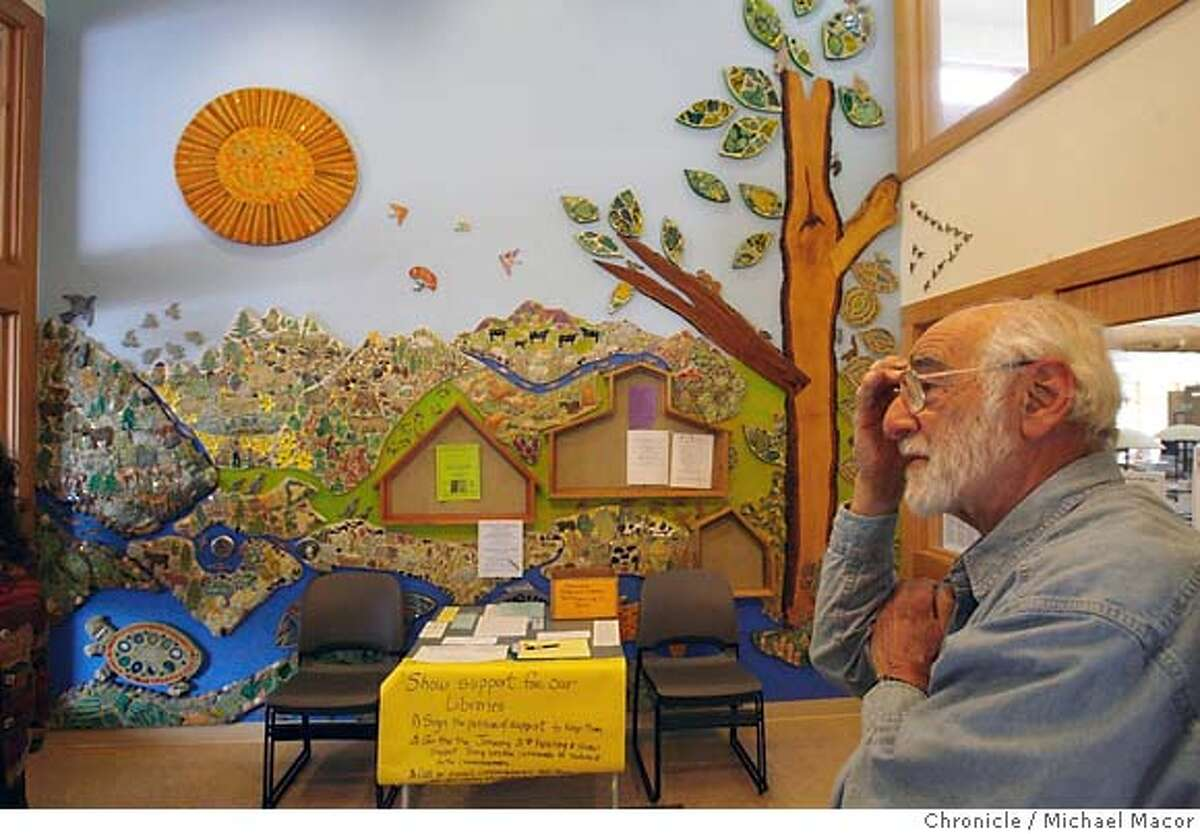 nolibrary_703_mac.jpg Marvin Rosenberg worked with his wife Lillian on construction of a beautiful mural at the entrance to the Ruch Branch Library. Local residents gather at the Ruch Branch Library to discuss strategies on the upcoming ballot vote that may save the libraries from closing. Jackson County in Southern Oregon, just across the Northern California border is going to close all 15 branch libraries on April 6 due to federal budget cuts. Photographed in, Ruch, Or, on 2/24/07. Photo by: Michael Macor/ San Francisco Chronicle
