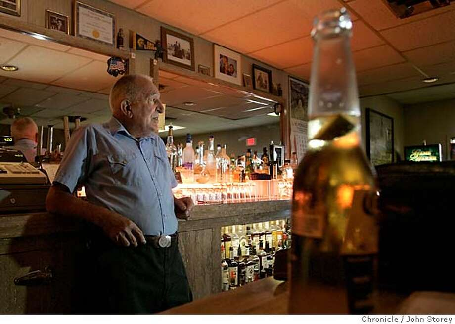 "Gerlach_jrs_0170.jpg  Bruno Selmi, owner of Bruno's Country Club in his bar. Story about the tiny town of Gerlach, which is the gateway to ""Burning Man"".  John Storey Gerlach Event on 8/25/05  - MANDATORY CREDIT FOR PHOTOG AND SF CHRONICLE/ -MAGS OUT Photo: John Storey"