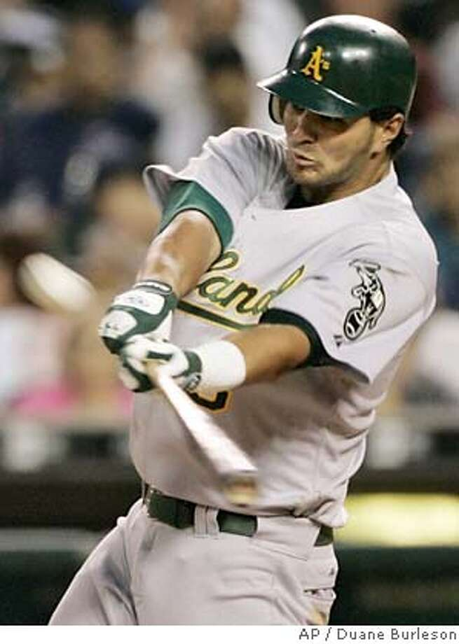 Oakland Athletics' Eric Chavez hits a solo home run in the fourth inning off of Detroit Tigers reliever Roman Colon Wednesday, Aug. 24, 2005, in Detroit. (AP Photo/Duane Burleson) Photo: DUANE BURLESON