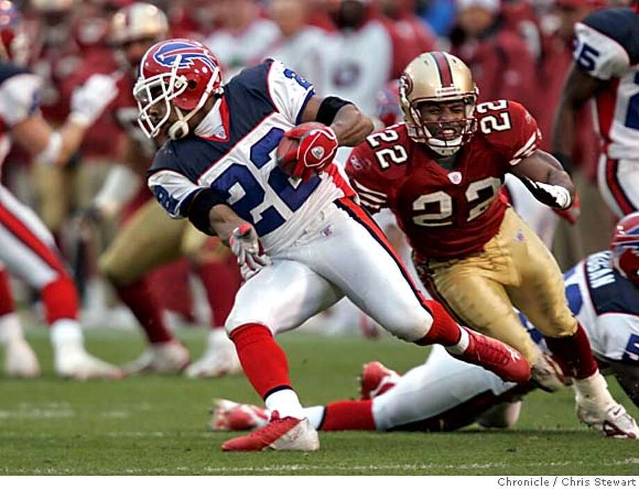 49ers146_cs.jpg Event on 12/26/04 in San Francisco.  The San Francisco 49ers Terry Jackson (22) can't catch up to the Buffalo Bills Nate Clements (22), who reaches the 48-yard-line on a punt return in the third quarter, with the Bills leading 27-0. The 49ers went on to lose to the Buffalo Bills 41-7 today at Monster Park.  Chris Stewart / The Chronicle MANDATORY CREDIT FOR PHOTOG AND SF CHRONICLE/NO SALES-MAGS OUT Photo: Chris Stewart
