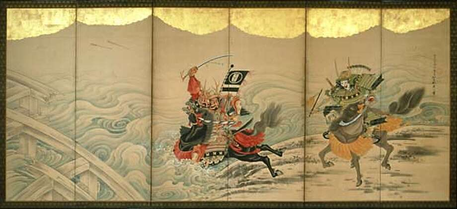 AAM Kyoto Eagle Vying to Cross the Uji River to Reach the Enemy's Camp First, by Soga Sh�haku (1730�1781). Japan, Kyoto. Edo period (1615�1868). One six�panel folding screen; ink, colors, and gold leaf on paper. H: 25 1/2 in x W: 68 1/2 in (each). Lent by the Feinberg Collection.  From the exhibition Traditions Unbound: Groundbreaking Painters of Eighteenth�Century Kyoto on view at the Asian Art Museum from December 3, 2005�February 26, 2006. Credit: Feinberg Collection Photo: Feinberg Collection