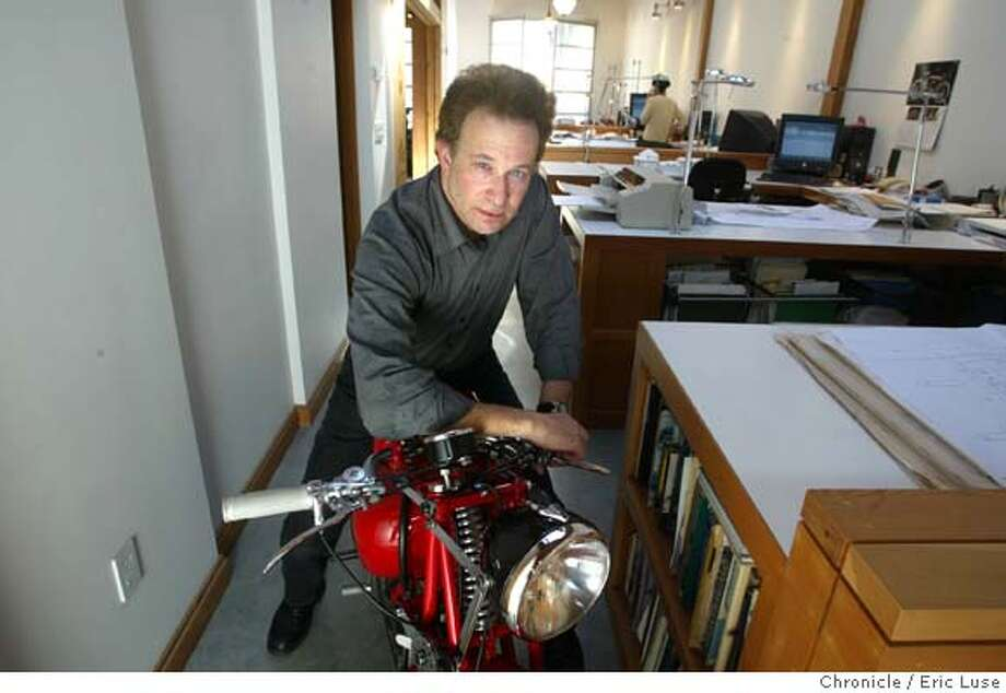 The Daylit Motorcycle Collection/Home/Design Firm: Synagogues and vintage Italian racing motorcycles meet in the live/work home of architect John Goldman. A San Francisco architect who specializes in synagogues, churches and homes, Goldman lives in a 1937 warehouse he converted into a loft to house his architecture office, living space, and museum-like collection of vintage Italian street and racing motorcycles that he collects and restores.  Event on 3/8/04 in San Francisco. Eric Luse / The Chronicle Photo: Eric Luse