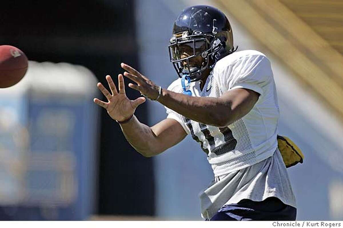 Marshawn Lynch wates for a pass . Cal pre-season football practice. CAL11_0027_kr.JPG 8/10/05 in Berkeley,CA. KURT ROGERS/THE CHRONICLE MANDATORY CREDIT FOR PHOTOG AND SF CHRONICLE/ -MAGS OUT