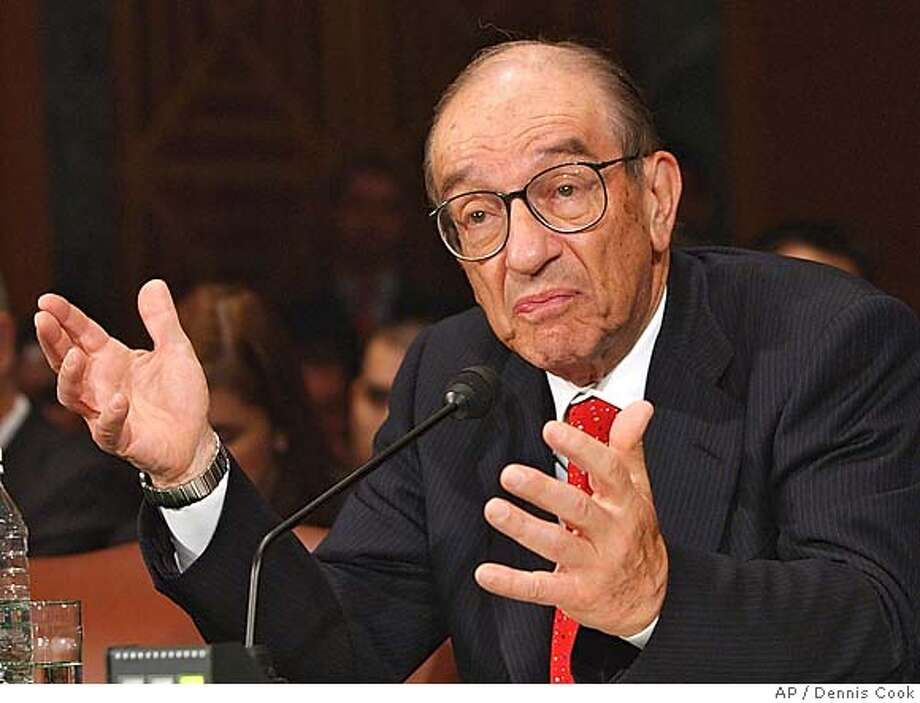 ** FILE ** In a file photo Federal Reserve Board Chairman Alan Greenspan testifies before the Senate Banking Committee on Capitol Hill Thursday, July 21, 2005. The Federal Reserve Board will meet Tuesday, Aug. 9, 2005, and is expected to raise short-term interest rates. (AP Photo/Dennis Cook) Ran on: 08-09-2005  Photo caption JULY 21, 2005, PHOTO Photo: DENNIS COOK
