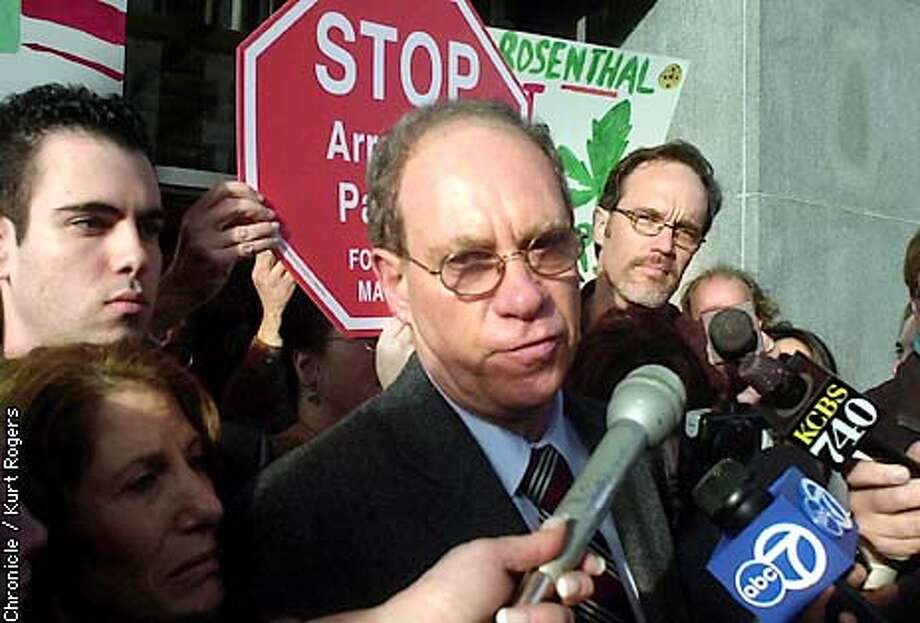MARIJUANAC-C-31JAN03-MT-KR  Ed Rosenthal talks to the media out front of the Federal court house in San Francisco about the Medacal marijuana verdict..Photo By Kurt Rogers Photo: Kurt Rogers