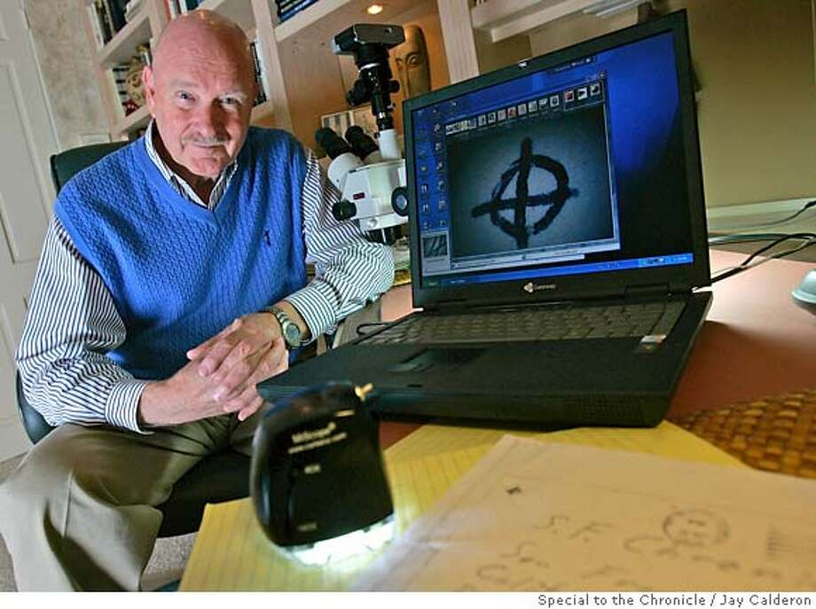 Forensic document examiner LLoyd Cunningham has examined thousands of documents related to the Zodiac killer, he uses a microscope, bottom, to view the documents on his computer at his Indian Wells home.  Jay Calderon/special to the Chronicle 03/01/7 cqd jmc Photo: Jay Calderon