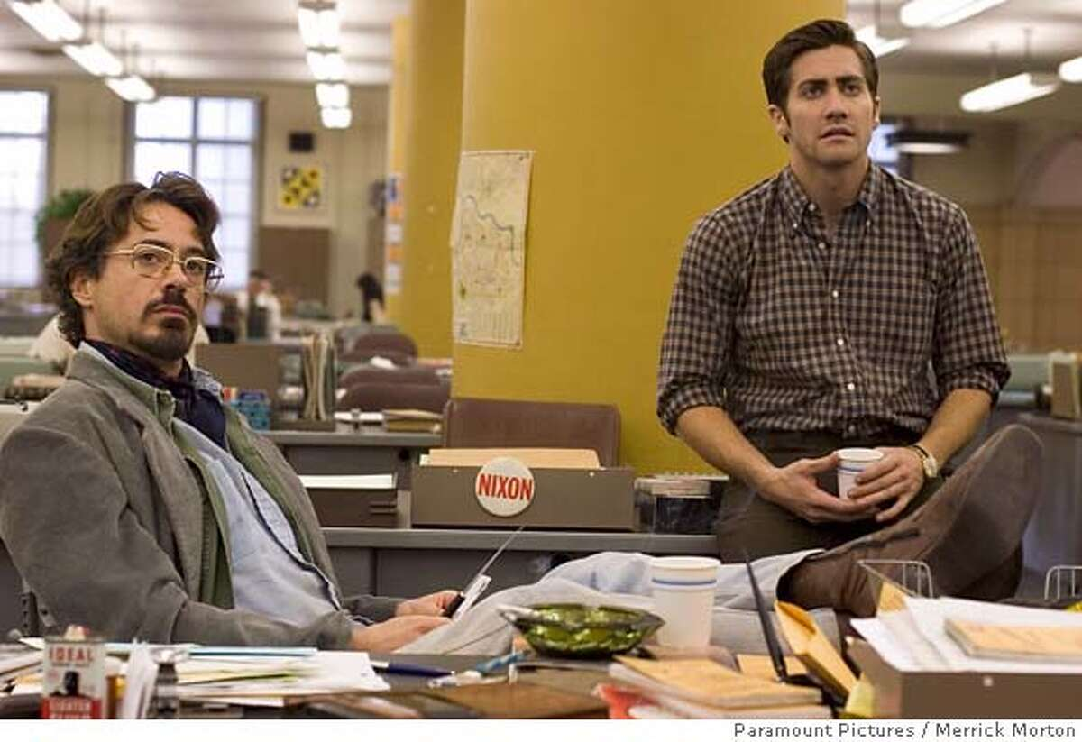 """In this photo provided by Paramount Pictures, Robert Downey Jr. and Jake Gyllenhaal star in """"Zodiac."""" (AP Photo/Paramount Pictures/Merrick Morton) NO SALES. NO MAGS."""
