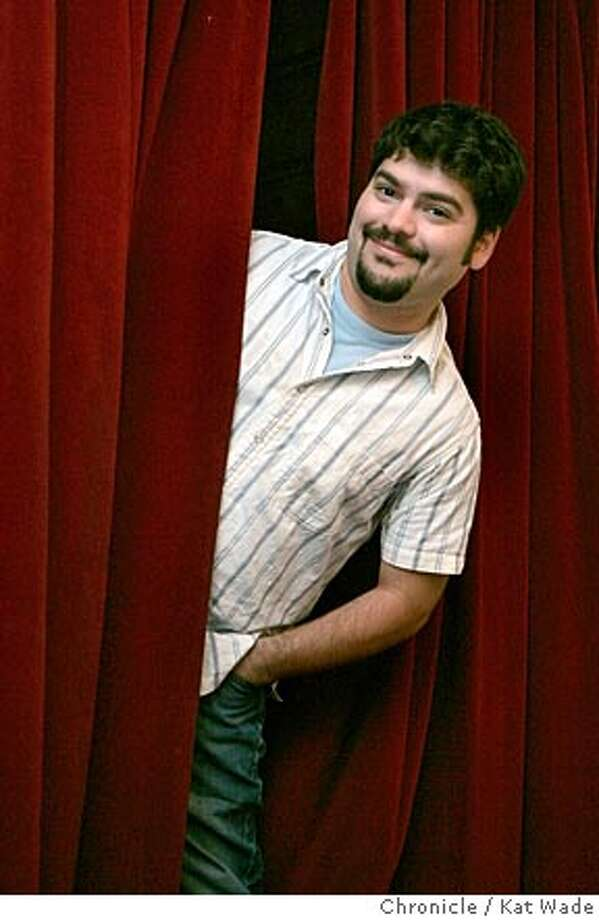 """On 8/10/05 in Lafayette East Bay native Kevin Morales' whose new play, """"Love Lafayette"""" opens on August 26th at the Town Hall Theatre poses for a portrait in thee Town Hall Theatre then in the hills of Lafayette. Kat Wade/ The Chronicle Photo: Kat Wade"""