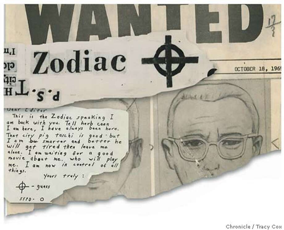 Police sketches on a wanted poster, coded notes delivered to newspapers, the killer�s name spelled in clipped-out letters -- decades-old markers of the bizarre. Chronicle illustration by Tracy Cox
