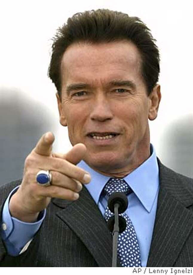 ** FILE ** California Gov. Arnold Schwarzenegger points during a news conference while pushing his plan for pension reform Thursday, Feb. 10, 2005, in San Diego. Schwarzenegger dropped out of a lucrative deal with a publishing company when he was criticized for possible conflicts of interest. (AP Photo/Lenny Ignelzi, File) A FEB 10, 2005 FILE PHOTO Photo: LENNY IGNELZI