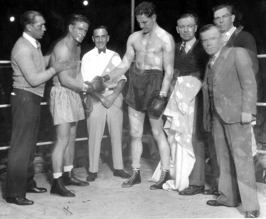 Frank Campbell (left) fought Max Baer (right) at Recreation Park in 1930. Campbell is dangerously hurt in the infamous fight.