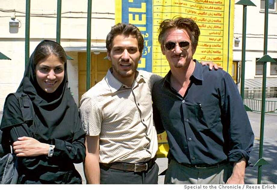 Sean Penn with students at Tehran University, June 2005.  Photo by Reese Erlich/ Special to the Chronicle  ONE TIME USE ONLY