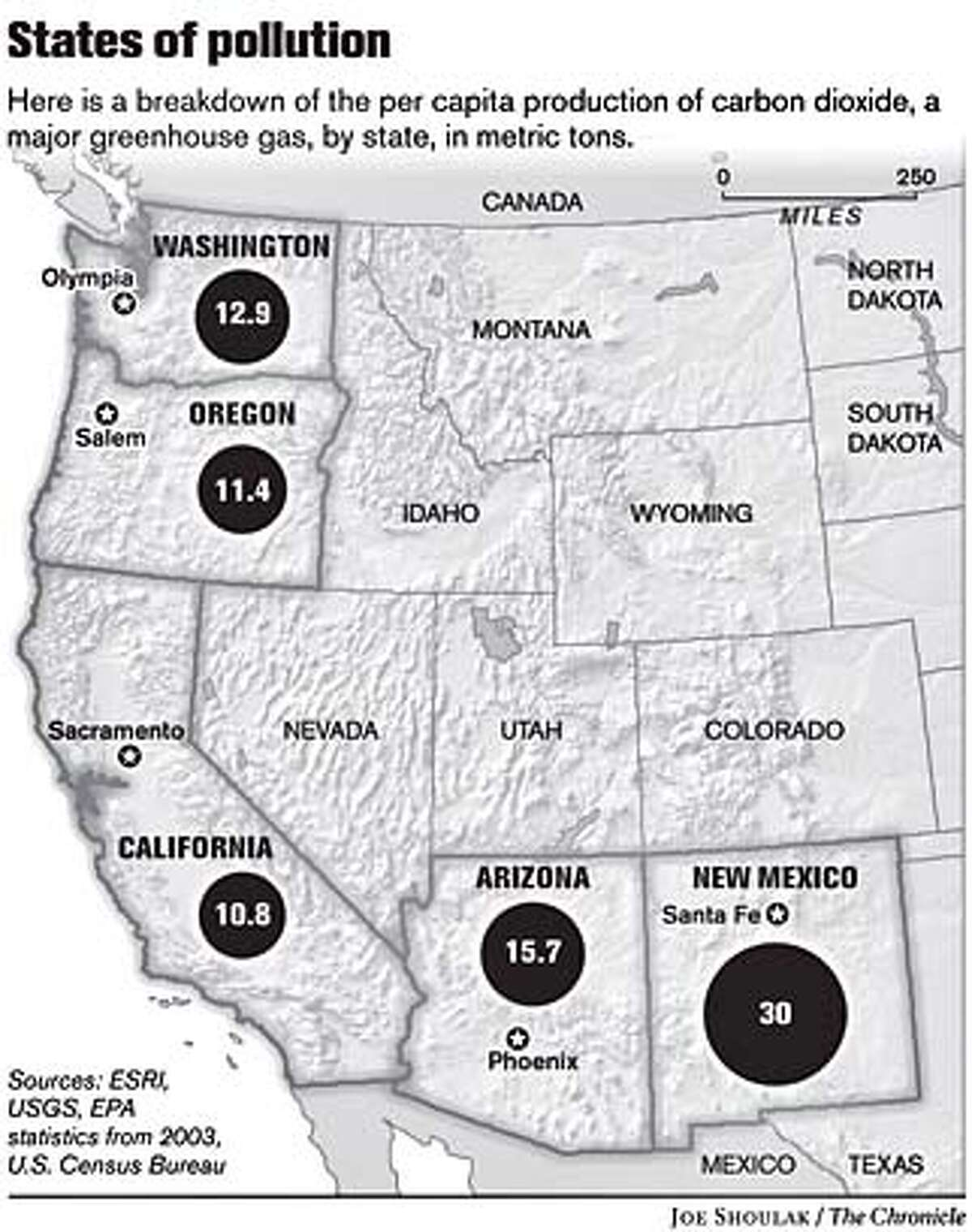 States of Pollution. Chronicle graphic by Joe Shoulak
