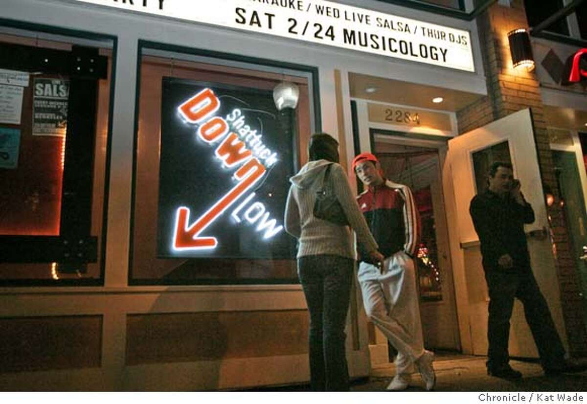 DOWNLOW_182_KW.jpg ( L to R) Nathalie Guidotti and Corey Raynor chat outside the club on Salsa night at the Shattuck Down Low Lounge in Berkeley on Wednesday February 21, 2007. Kat Wade/The Chronicle Nathalie Guidotti and Corey Raynor (CQ, subjects) Mandatory Credit for San Francisco Chronicle and photographer, Kat Wade, No Sales Mags out