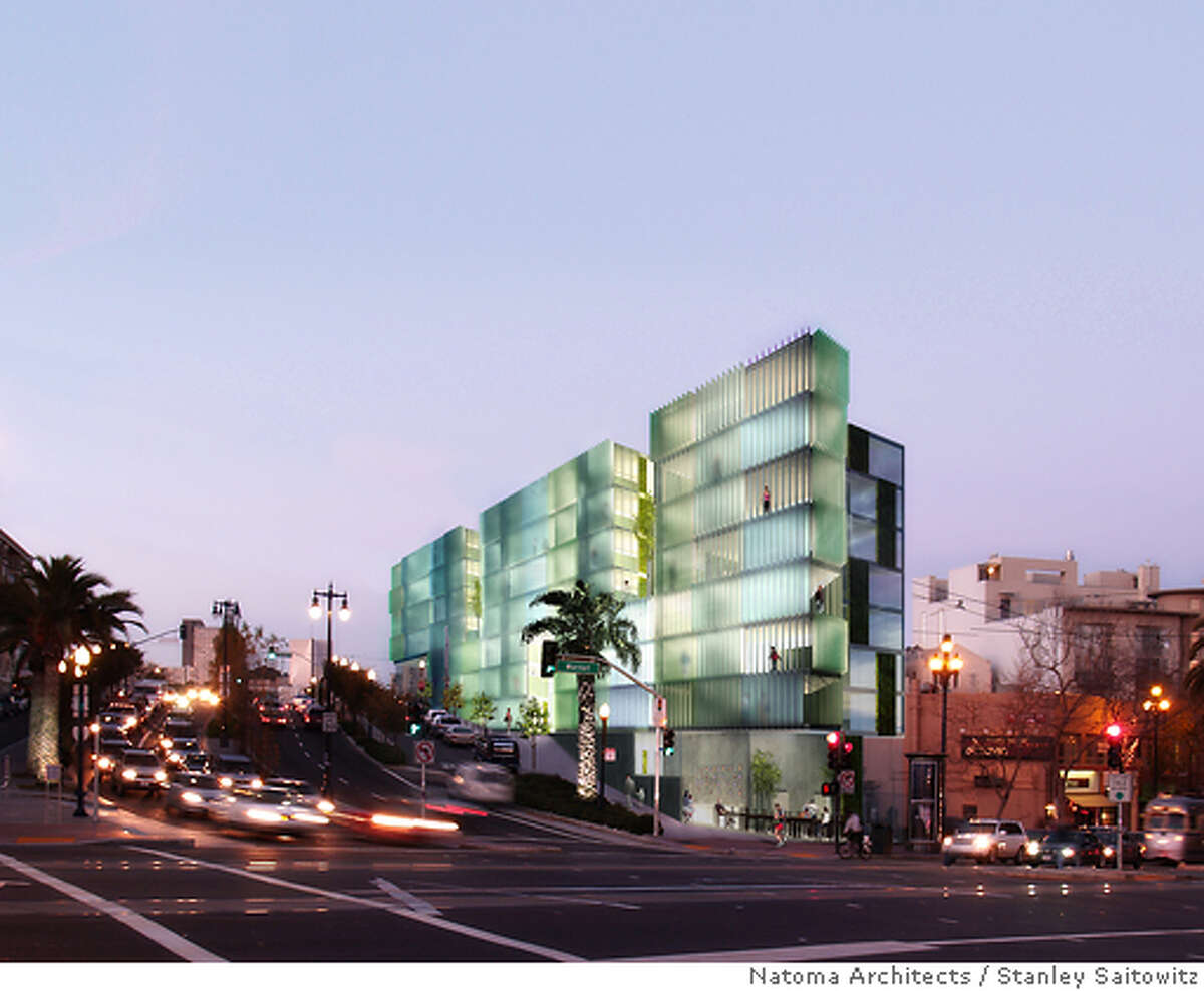 The design for the corner of Octavia Boulevard and Market Street by Stanley Saitowitz and Natoma Architects, who teamed up with AkS Development Group to win a city competition for the site. Copyright: Stanley Saitowitz / Natoma Architects