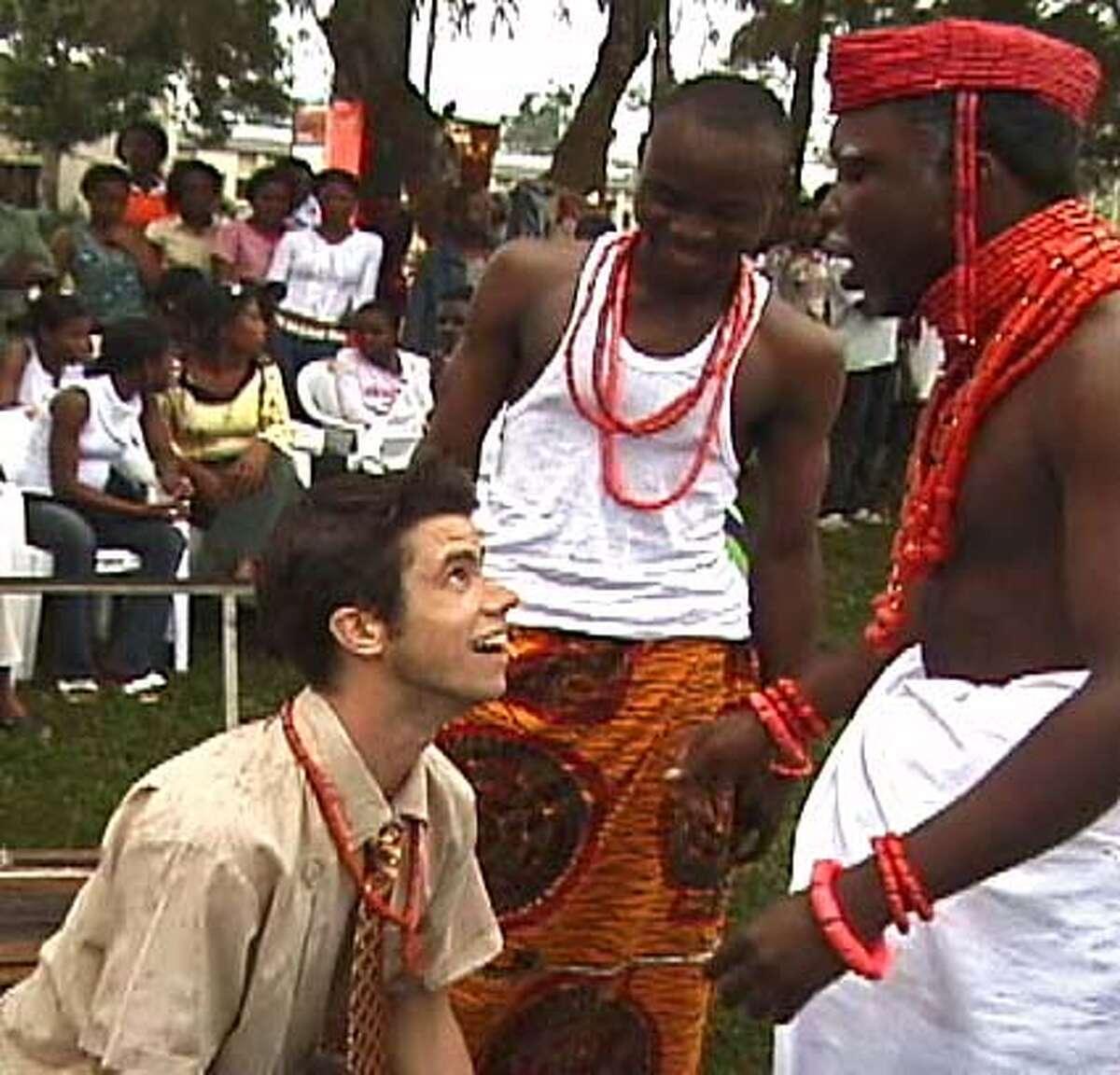 Still from a video of Dan Hoyle in Nigeria. -