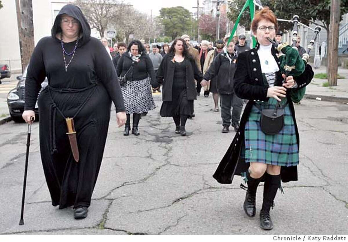 MACALLISTER26_101_RAD.jpg SHOWN: The funeral march was led by Priestess Cholla (L) and a piper who calls herself The Lady Piper. Pagan funeral ceremony and procession for Heather MacAllister, a burlesque performer and activist for fat people (she wanted the word fat, not heavy) and other oppressed people. Ceremony was at Precita Park, march was east on Precita to Mission St. to the El Rio Bar. These pictures were made on Sunday, Feb. 25, 2007, in San Francisco, CA. (Katy Raddatz/SF Chronicle) **Cholla, The Lady Piper Mandatory credit for the photographer and the San Francisco Chronicle. No sales; mags out.