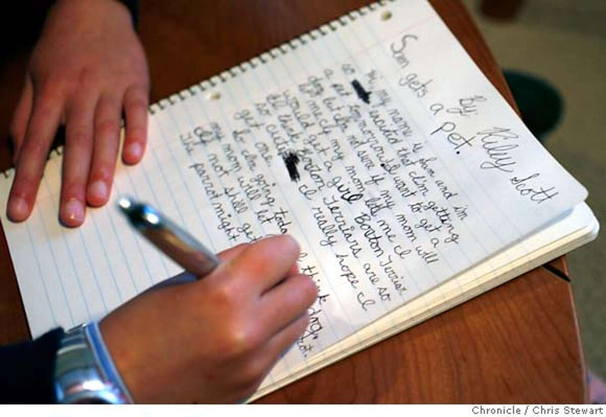 {filename .} Fourth grader Riley Scott, 9, works on writing skills in her Petaluma home. Chris Stewart / The Chronicle Riley Scott MANDATORY CREDIT FOR PHOTOG AND SF CHRONICLE/NO SALES-MAGS OUT
