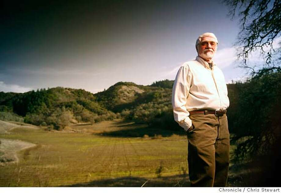 COLERANCH16_385_cl.JPG  Story on Cole Ranch, the smallest American wine appellation in the United States. Cole Ranch, 254 acres, is located in the hills outside of Ukiah, in Mendocino County. John Cole, the original owner, sold it in 1999 to the Sterling family, owners of Esterlina Winery in nearby Philo. Photo of John Cole with the Cole Ranch behind him.  Event on 1/29/07 in Ukiah. photo by Craig Lee / The Chronicle MANDATORY CREDIT FOR PHOTOG AND SF CHRONICLE/NO SALES-MAGS OUT Photo: Photo By Craig Lee