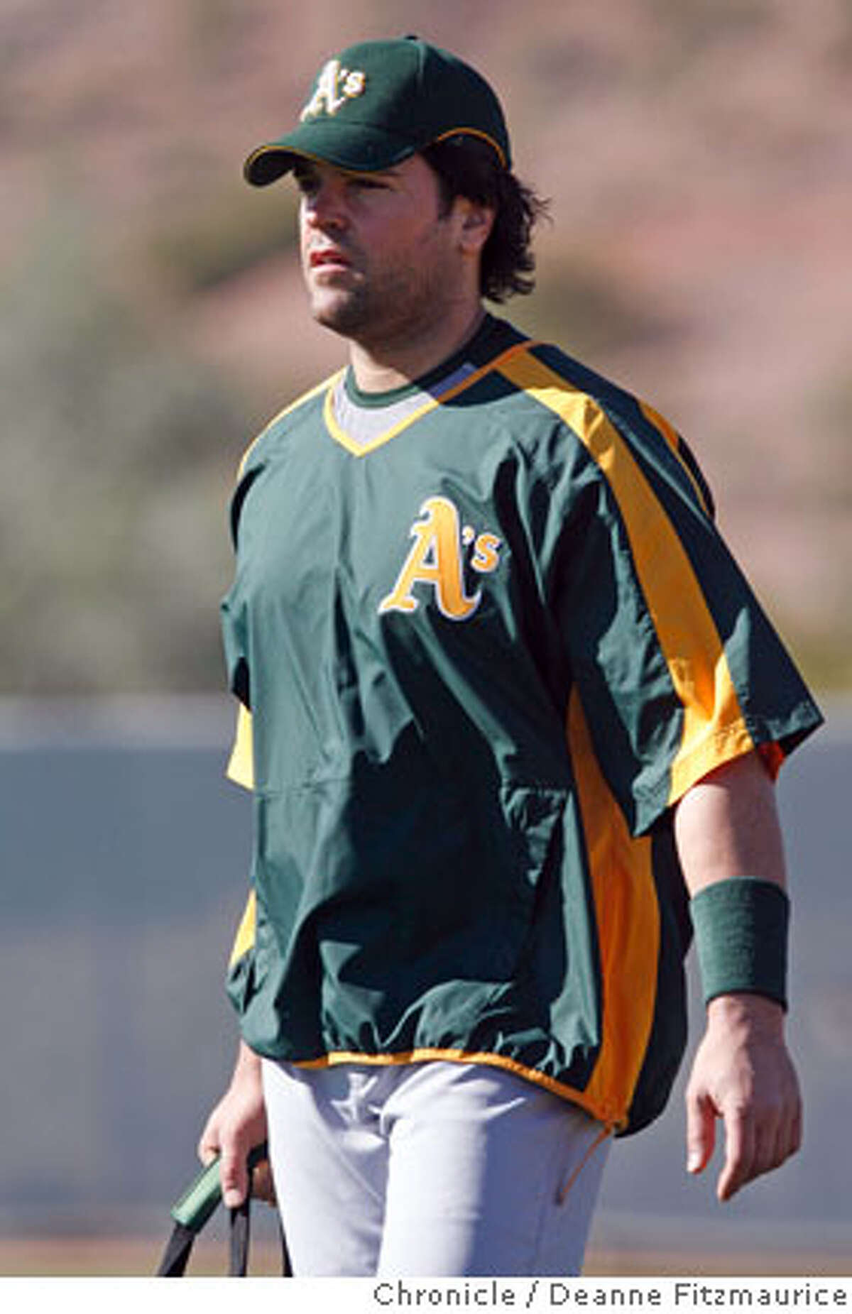 Mike Piazza arrives at spring training for the Oakland A's. The Oakland Athletics have a spring training workout at Papago Park. Photographed in Phoenix on 2/22/07. Chronicle Photo / Deanne Fitzmaurice