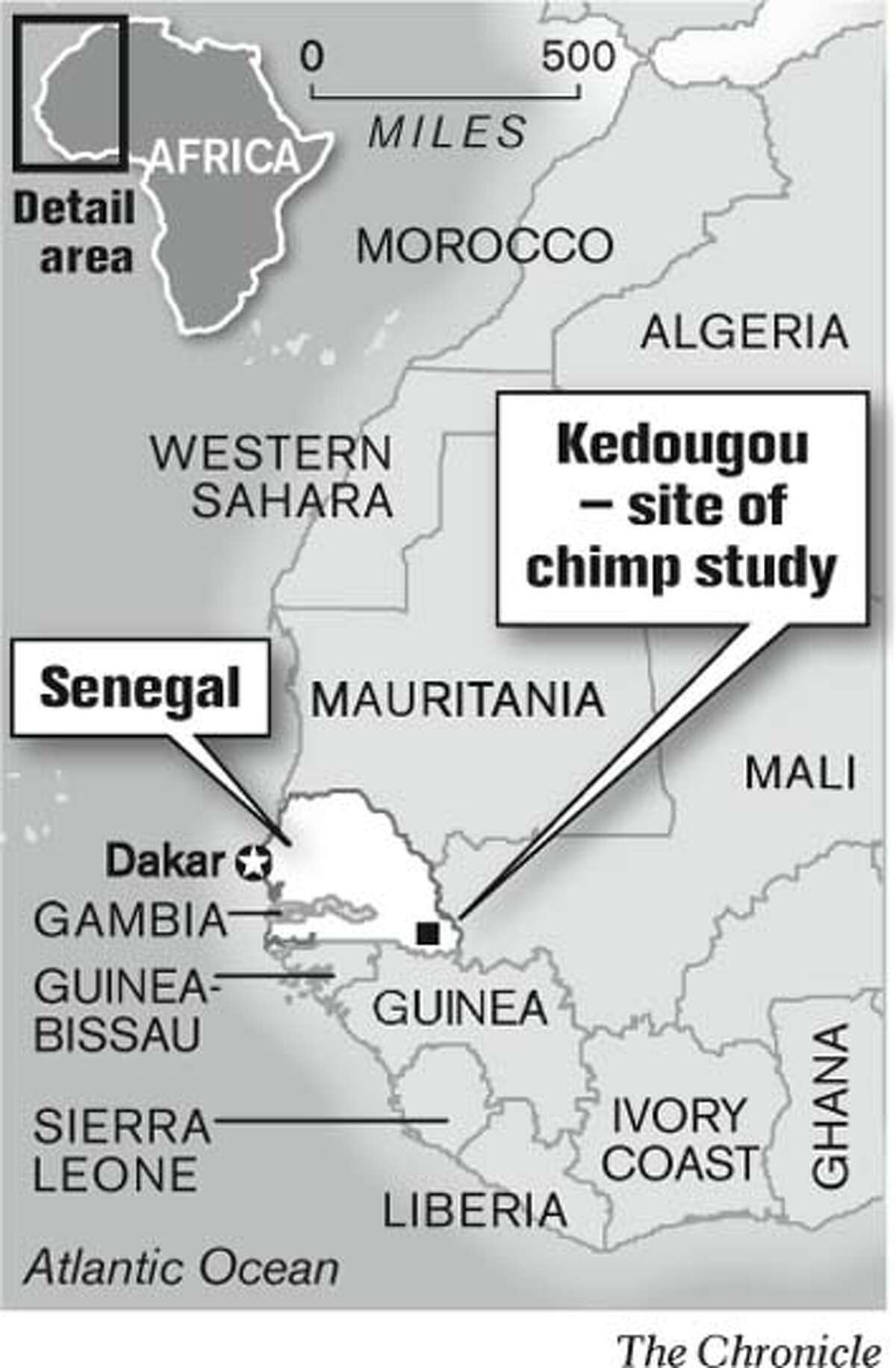Kedougou - site of chimp study. Chronicle Graphic