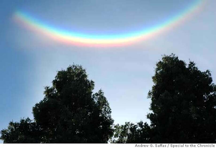 "Photo of ""upside-down rainbow"" taken by Andrew G. Saffas using a NIKON D70 camera on Saturday, January 13 2007 at 3:51 p.m. in Concord, CA., during a family gathering. Andrew G. Saffas/SPECIAL TO THE CHRONICLE NO SALES, NO MAGS, NO TV NO MAGS, NO SALES, NO TV Photo: Andrew G. Saffas"