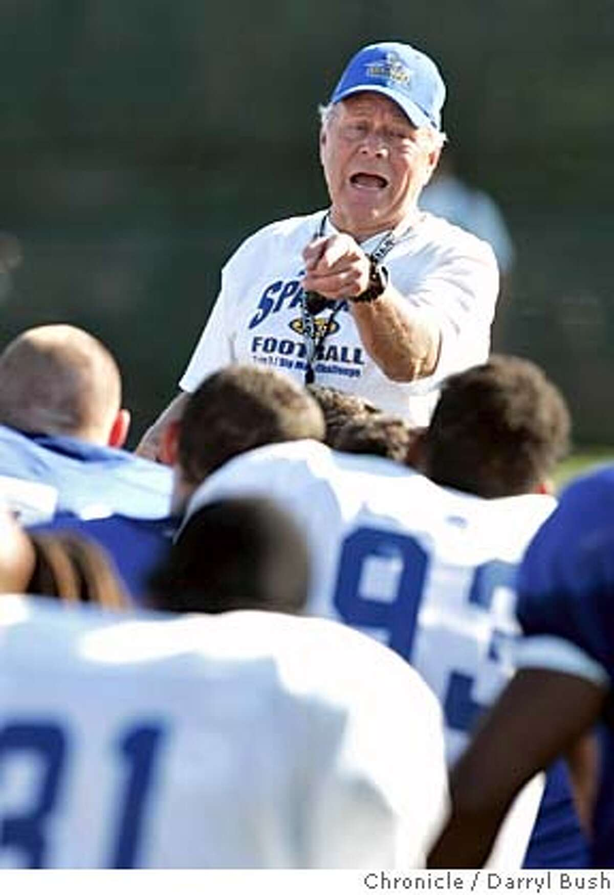 sjsufootball_332_db.jpg San Jose State head coach Dick Tomey talks to players after scrimmage at football practice at Spartan Stadium. Event on 8/11/05 in San Jose. Darryl Bush / The Chronicle MANDATORY CREDIT FOR PHOTOG AND SF CHRONICLE/ -MAGS OUT