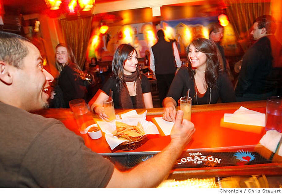 BARBITES22_089_cs.jpg  Bartender Jayson Addcox chats up Stephanie Sulser (left) and Jullie Maldonado, both of San Francisco, at the Velvet Cantina. This is a Mexican-themed restaurant and bar in the Mission District at 3349 23rd Street, San Francisco. For 96 Hours Bar Bite. Photographed February 7, 2007 in San Francisco, California.  Chris Stewart / The Chronicle Bar Bite Photo: Chris Stewart