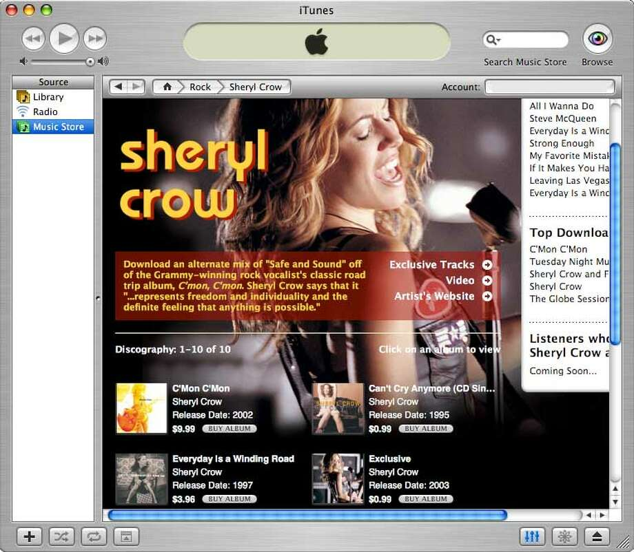 Apple's iTunes Music Store is designed to give music fans the feel of browsing in a real record store without leaving home. Once in the store, you can click on a list of new releases, top downloads or featured artists like Sheryl Crow