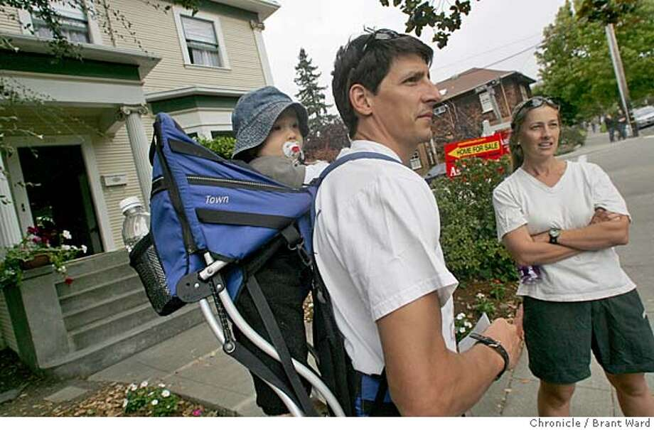 AFFORD18_004_ward.jpg  Jason Morrison, his wife Andrea Sumits and their son Cassidy are looking for a quieter street to live...they checked out a home on Virginia Street in Berkeley.  Home prices continue to rise in the Bay Area. With the average price reaching all time highs, it is increasingly difficult for people to afford the homes even with low interest rates.  Brant Ward 8/14/05 Photo: Brant Ward