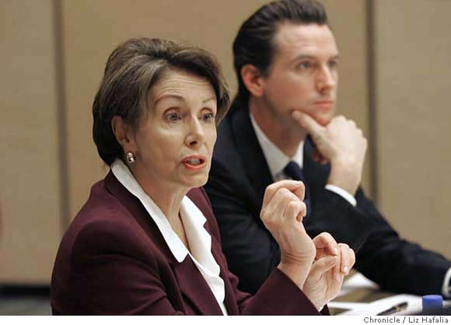 PELOSI_006_LH.JPG Speaker Nancy Pelosi with Mayor Gavin Newsom and environmental and business leaders having a roundtable discussion on global warming and energy independence at Moscone West.. Photographed by Liz Hafalia/San Francisco/2/21/07 Photo: Liz Hafalia