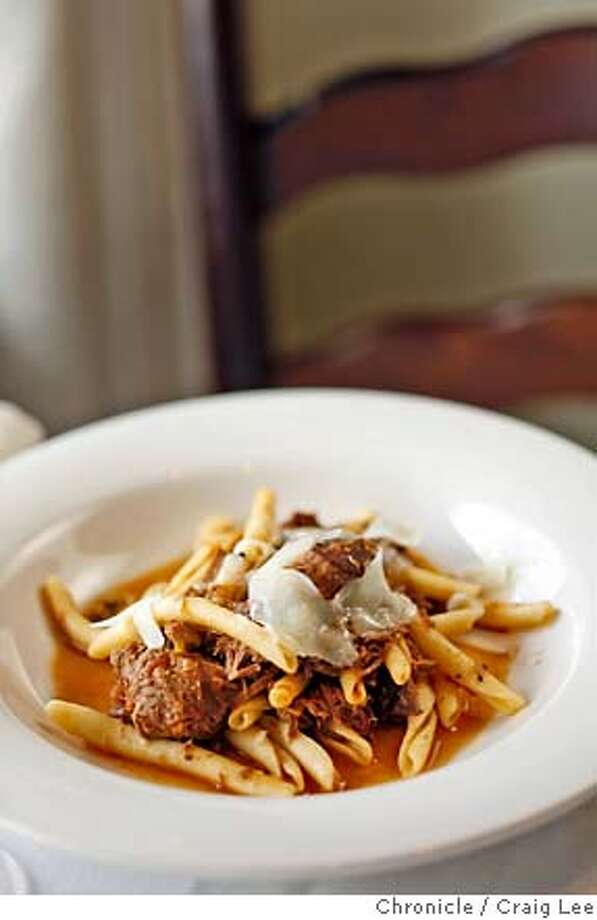 SUGO21_253_cl.JPG  Photo of Veal Ragu with Green Olives on Strozzapretti Pasta at Poggio Restaurant.  Event on 2/13/07 in Sausalito. photo by Craig Lee / The Chronicle MANDATORY CREDIT FOR PHOTOG AND SF CHRONICLE/NO SALES-MAGS OUT Photo: Photo By Craig Lee
