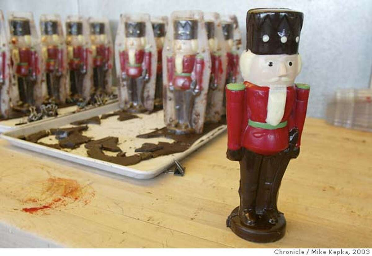 schmidt210211_mk.jpg A chocolate soldier stands tall waiting for the holiday season. Joseph Schmidt was one the first of now many Bay Area based fancy chocolatiers. He has factory has been at 17th and Folsom now for 8 years. 10/23/03 in San Francisco. MIKE KEPKA/The San Francisco Chronicle MANADATORY CREDIT FOR PHOTOG AND SF CHRONICLE/ -MAGS OUT