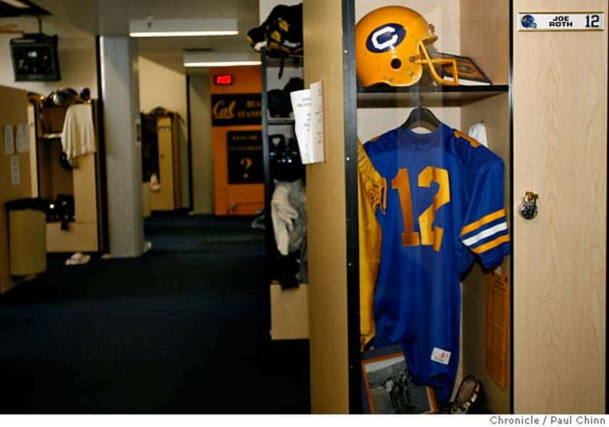 Encased behind plexiglas, Cal quarterback Joe Roth's locker remains as it was in 1977 at Memorial Stadium in Berkeley, Calif. on Wednesday, February 14, 2007. The star quarterback died of cancer three months after his final game for the Bears 30 years ago. PAUL CHINN/The Chronicle **Joe Roth MANDATORY CREDIT FOR PHOTOGRAPHER AND S.F. CHRONICLE/NO SALES - MAGS OUT