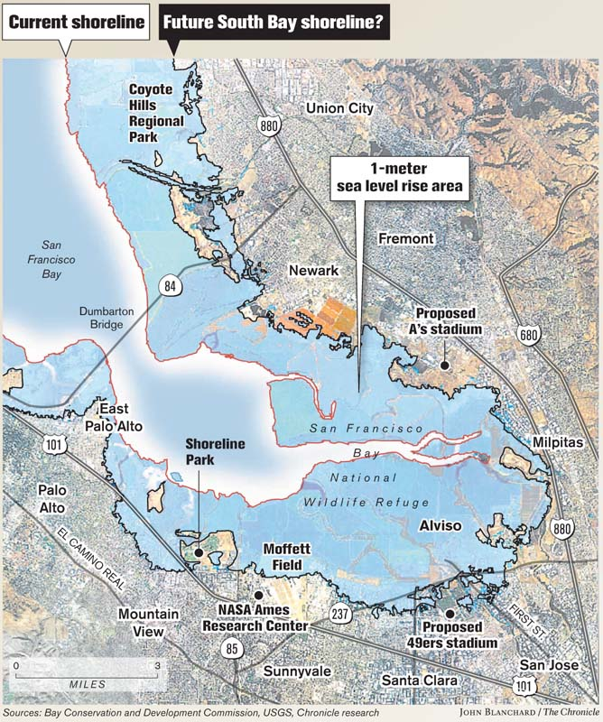 Consequences of a rising bay global warming new set of maps consequences of a rising bay global warming new set of maps reveals how melting polar ice could change shoreline and carry a high price for entire region publicscrutiny Images