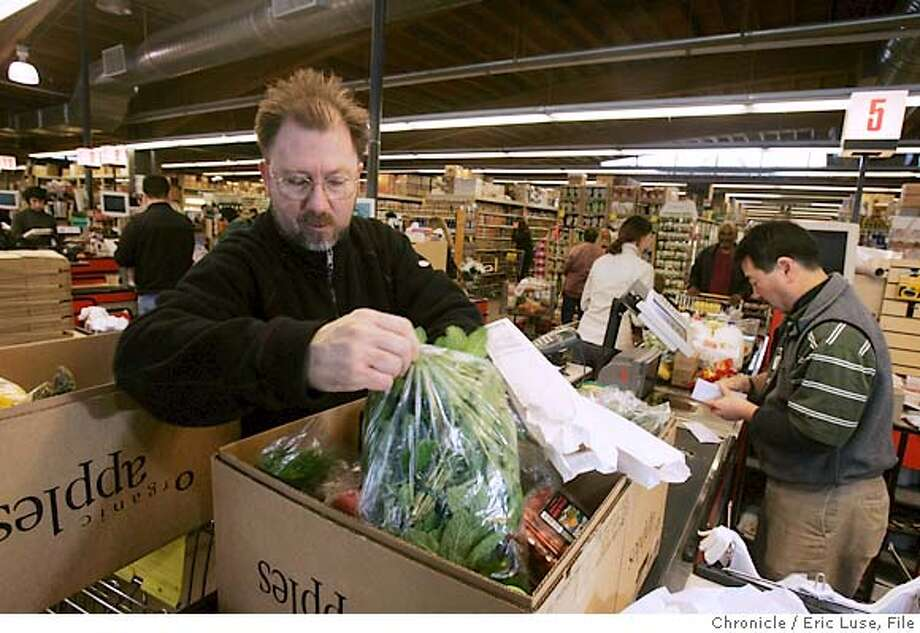 Steven Lucas, Chef, The Phoenix Pastificio, Berekley, picks up items everyday the the Bowl. Berkeley Bowl grocery store and the people that shop there, the employees etc.  Event on 3/18/05 in Berkeley. Eric Luse / The Chronicle Photo: Eric Luse