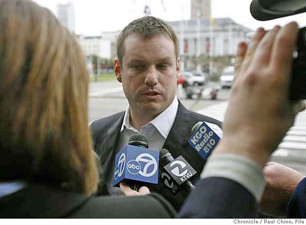 Peter Ragone, Mayor Gavin Newsom's director of communications, faces news cameras before Newsom publicly apologized for an extramarital affair he had with the wife of former staffer Alex Tourk in San Francisco, Calif. on Thursday, Feb. 1, 2007. PAUL CHINN/The Chronicle **Peter Ragone, Alex Tourk Ran on: 02-18-2007 Peter Ragone, Mayor Gavin Newsoms director of communications, is known for skillfully getting his boss message across. Ran on: 02-18-2007 Peter Ragone, Mayor Gavin Newsoms director of communications, is known for skillfully getting his boss message across.