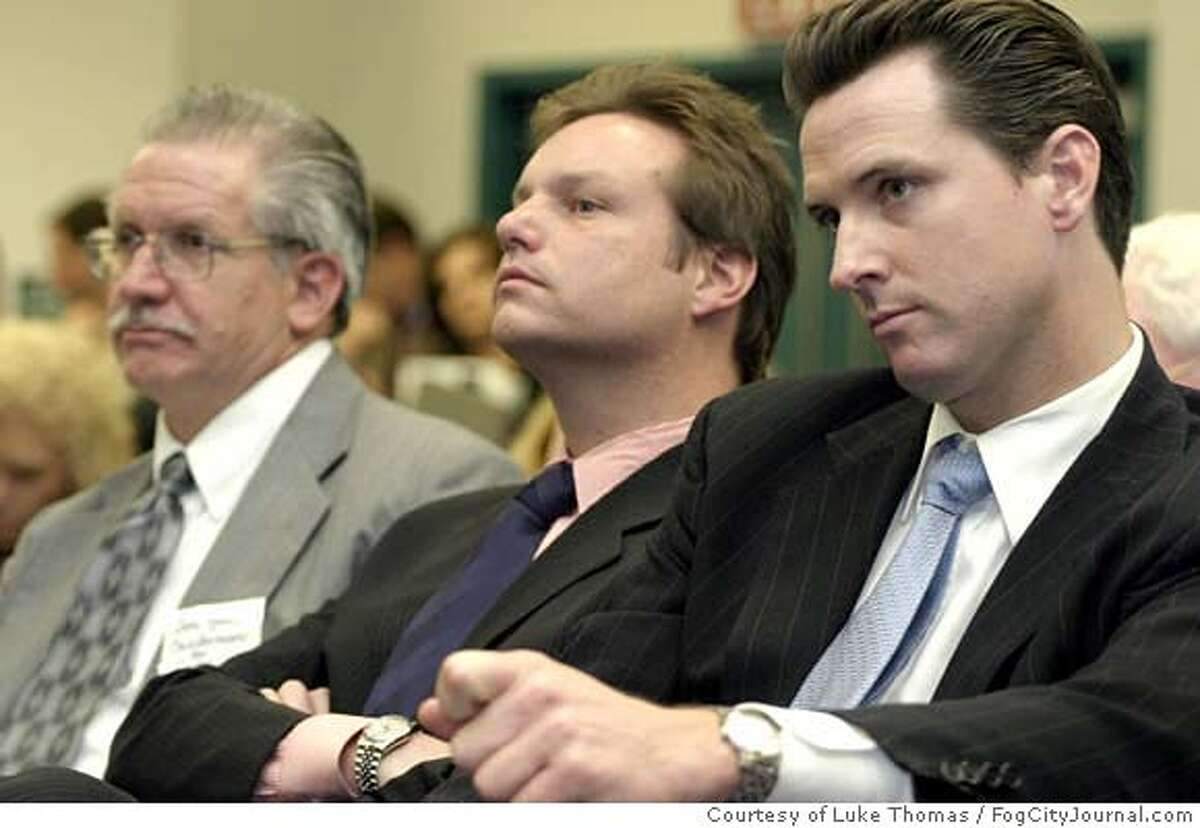Peter Ragone, center, and Gavin Newsom, right, listen closely May 6, 2005 in Fresno, CA, as they await a decision if San Francisco was chosen for the Stem-Cell headquarters. Courtesy Luke Thomas/FogCityJournal.com