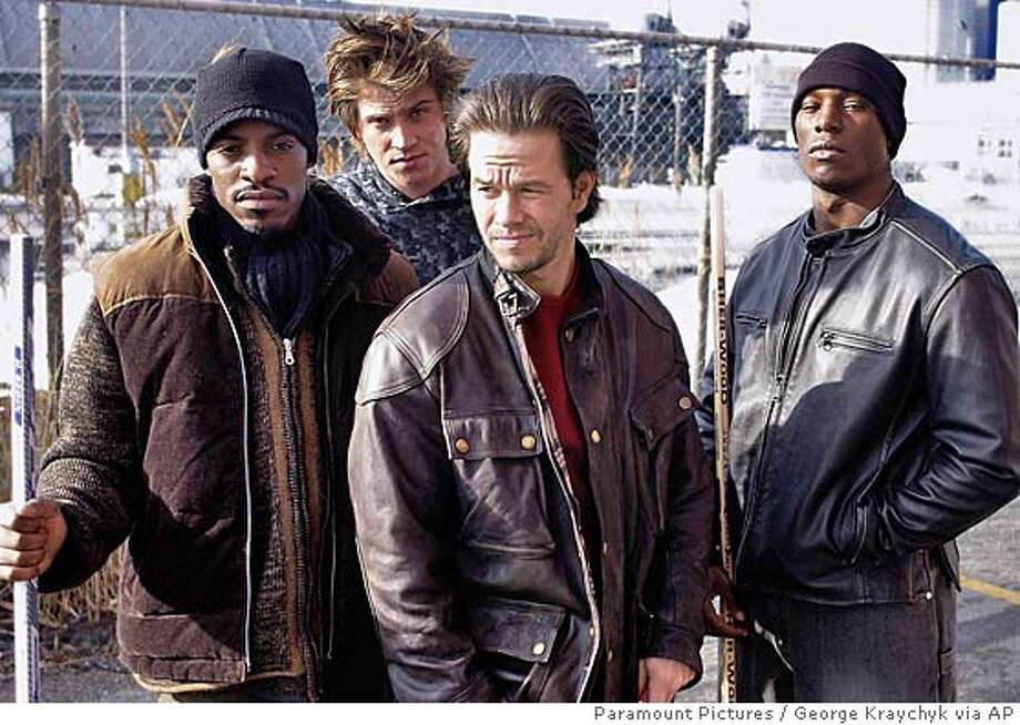 "This promotional photo provided by Paramount Pictures shows co-stars of "" ,"" from left, Andr� Benjamin as family man and businessman Jeremiah; Garrett Hedlund as hard rocking Jack; Mark Wahlberg as hotheaded Bobby and Tyrese Gibson as ladies� man Angel, in a scene from the film. (AP Photo/Paramount Pictures, George Kraychyk) Photo: GEORGE KRAYCHYK"