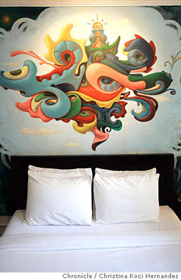 CHRISTINA KOCI HERNANDEZ/CHRONICLE Room 505, by artist, NoMe.	We go to the Hotel de Arts in which artists paint hotel rooms in this hotel. We want shots of the art in the hotel rooms and scenes of the hotel as well Please try and avoid shooting the rooms of Tom Gaskin--we've done him to death Photo: CHRISTINA KOCI HERNANDEZ