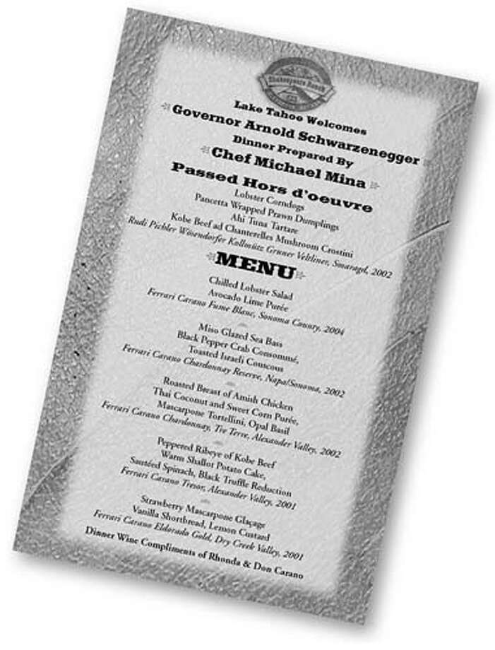 This is the menu for an Aug. 19 evening of casual elegance fundraiser for Gov. Arnold Schwarzenegger, sponsored by Nevada Gov. Kenny Guinn and other politicians at Shakespeare Ranch in Glenbrook, Nev. Tickets for couples run as much as $25,000.