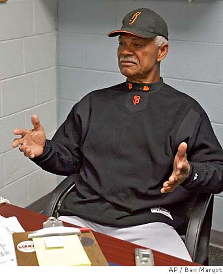 San Francisco Giants' manager Felipe Alou gestures during a news conference in his Scottsdale Stadium office Thursday, March 17, 2005, in Scottsdale, Ariz. The Giants announced that their star left fielder, Barry Bonds, underwent a second operation on his right knee this morning. (AP Photo/Ben Margot) Ran on: 03-31-2005 Photo: BEN MARGOT