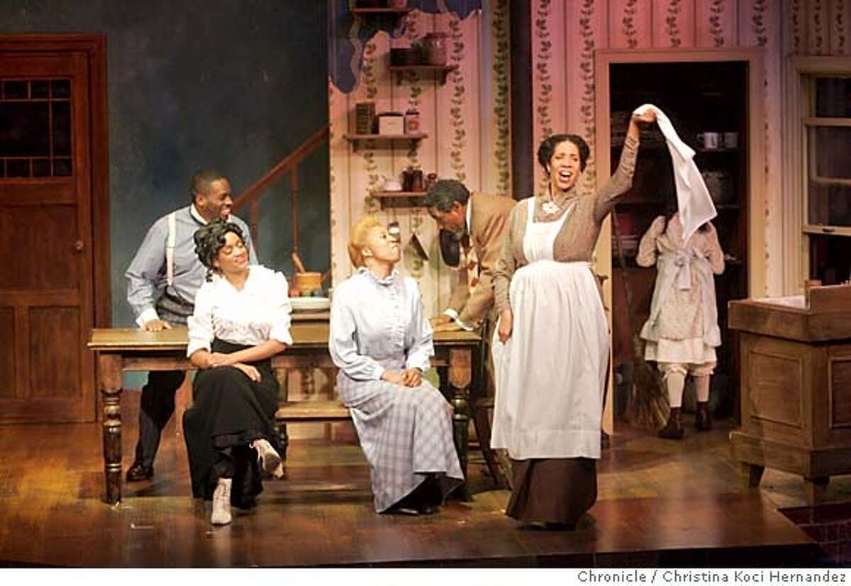 """(l to R)(suspenders) Christopher Price """"Jeremy Furlow"""" , (woman white shirt) Jujuana ShaRon Williams """"Molly Cunningham,"""" Melvina C. Jones """"Mattie Campbell"""" (man bending on table)) Charles Branklyn """"Bynum Walker """" and (woman with hankerchief) Elizabeth Carter, """"Bertha Holly."""" Preview performance of """"Joe Turner's Come and Gone"""" at Lorraine Hansberry Theatre, Black History Month revival of important play by August Wilson, part of his cycle of plays covering 20th century African American History. ***performance at 8pm; ask for marc when you get there...ry. (CHRISTINA KOCI HERNANDEZ/CHRONICLE) CHRONICLE Photos by CHRISTINA KOCI HERNANDEZ"""