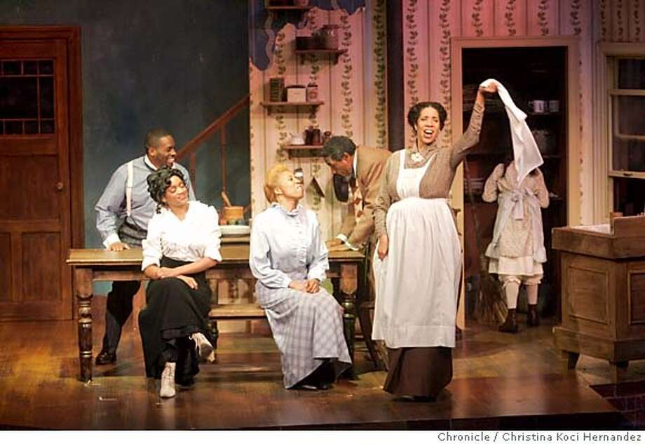 "(l to R)(suspenders) Christopher Price ""Jeremy Furlow"" , (woman white shirt) Jujuana ShaRon Williams ""Molly Cunningham,"" Melvina C. Jones ""Mattie Campbell"" (man bending on table)) Charles Branklyn ""Bynum Walker "" and (woman with hankerchief) Elizabeth Carter, ""Bertha Holly."" Preview performance of ""Joe Turner's Come and Gone"" at Lorraine Hansberry Theatre, Black History Month revival of important play by August Wilson, part of his cycle of plays covering 20th century African American History.  ***performance at 8pm; ask for marc when you get there...ry.  (CHRISTINA KOCI HERNANDEZ/CHRONICLE) CHRONICLE Photos by CHRISTINA KOCI HERNANDEZ Photo: CHRISTINA KOCI HERNANEZ/CHRONICL"