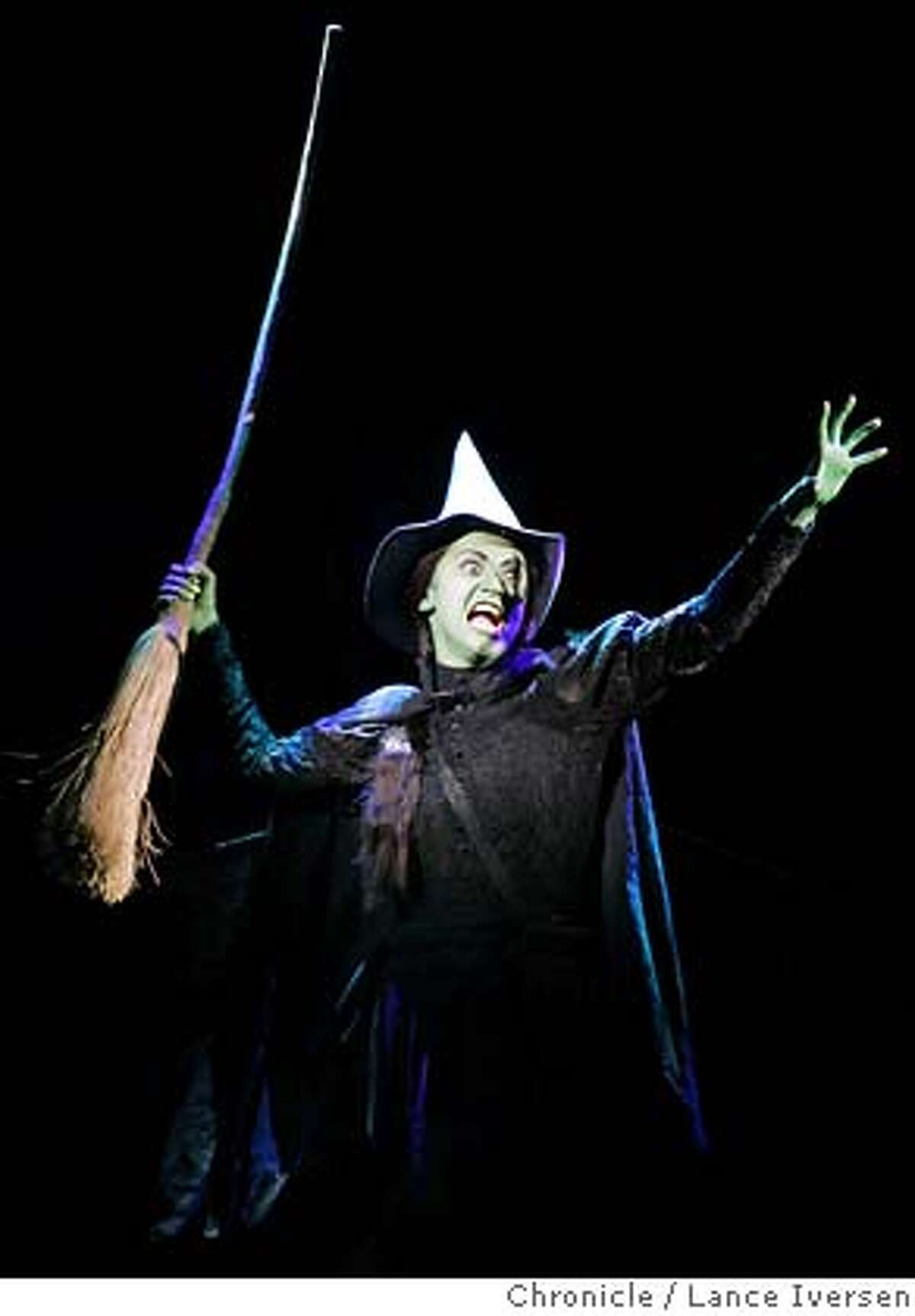 WICKED_0328.jpg_ Eden Espinosa playing Elphaba the witch in the Defying Gravity scene Act 1. A new Musical Wicked, the untold story of the witches of OZ opened in San Francisco Friday night at the Orpheum Theatre. By Lance Iversen/San Francisco Chronicle MANDATORY CREDIT PHOTOG AND SAN FRANCISCO CHRONICLE.