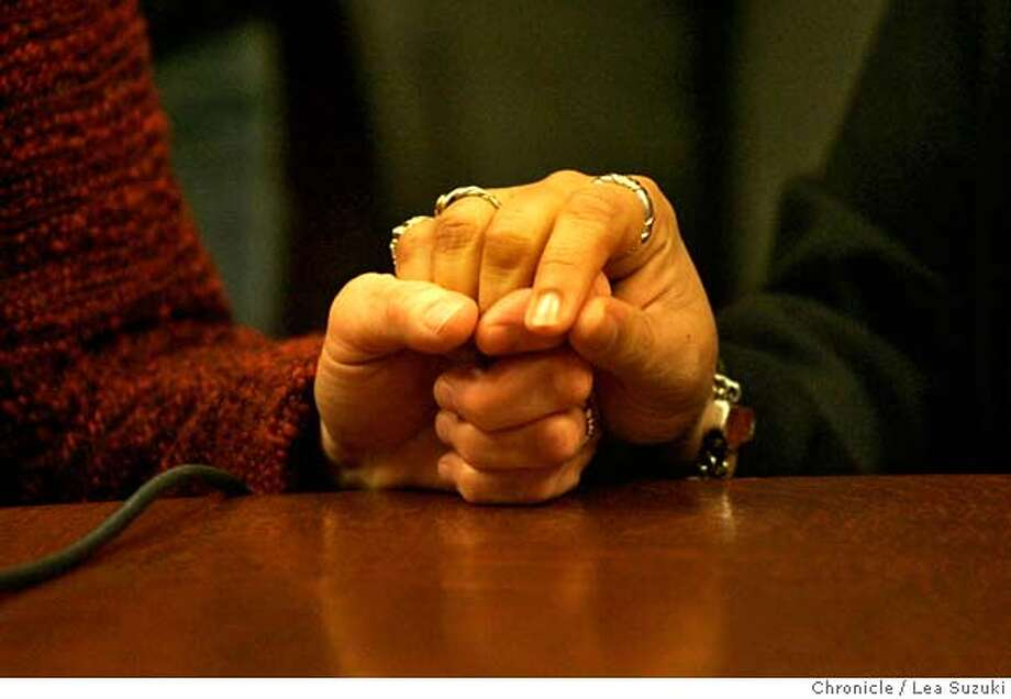samesex13_025_suzuki.JPG  From left: Diane Sabin and Jewelle Gomez hold hands before speaking at a press conference in the International Room at City Hall. Both are plaintiffs in the same sex marriage lawsuit. Mayor Gavin Newson and 6 named plaintiffs at a press conference in the International Room at City Hall for an event at commemoration of today's third anniversary of the beginning of the same-sex marriage licenses, sponsored by National Council on Lesbian Rights.  Photo taken on 2/12/07, in San Francisco, CA. Photo by Lea Suzuki/ The San Francisco Chronicle MANDATORY CREDIT FOR PHOTOG AND SF CHRONICLE/NO SALES-MAGS OUT. Photo: Lea Suzuki
