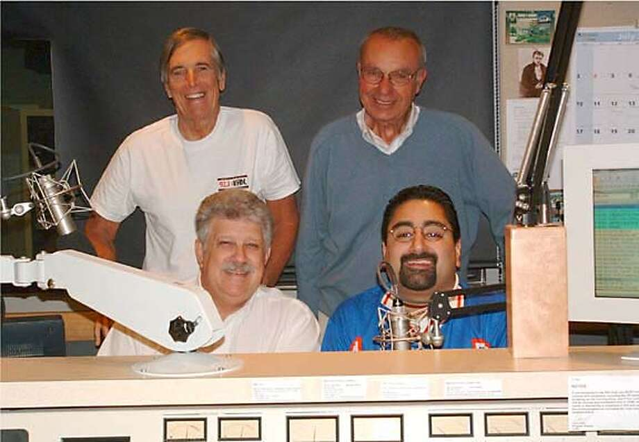 KABL radio staff: Carter B. Smith (top left), Jim Lange, Clark Reid (lower left, ) and Dino Donikian (the young bearded guy).