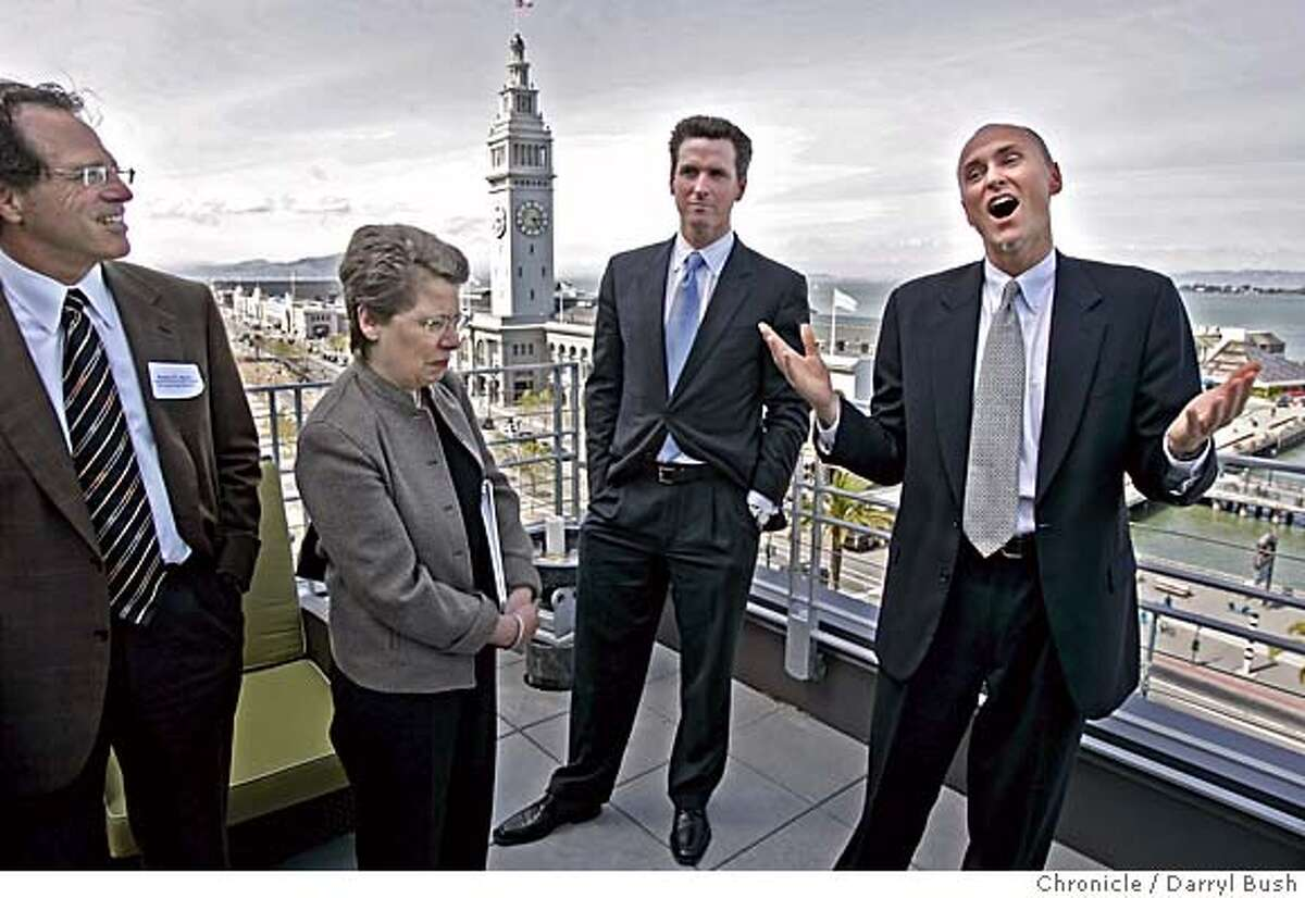 stemcells30_165_db.jpg From left: ICOC chair Robert Klein, Dr. Claire Pomeroy, Mayor Gavin Newsom, listen to Chip Conley, CEO of Joie de Vivre Hospitality, right, as he speaks atop the Hotel Vitale with a view of the Ferry Building in the background, offering free hotel rooms to entice decision makers on the tour. San Francisco gives a tour to important people who decide on what city will be chosen as the site for the California Institute for Regenerative Medicine This if for stem cell research. Event on 4/29/05 in San Francisco. Darryl Bush / The Chronicle Ran on: 04-30-2005 Chip Conley (right) of Hotel Vitale, speaks to stem cell institute members Robert N. Klein (left) and Clair Pomeroy as Mayor Newsom listens, atop the hotel with the Ferry Building in the background. MANDATORY CREDIT FOR PHOTOG AND SF CHRONICLE/ -MAGS OUT