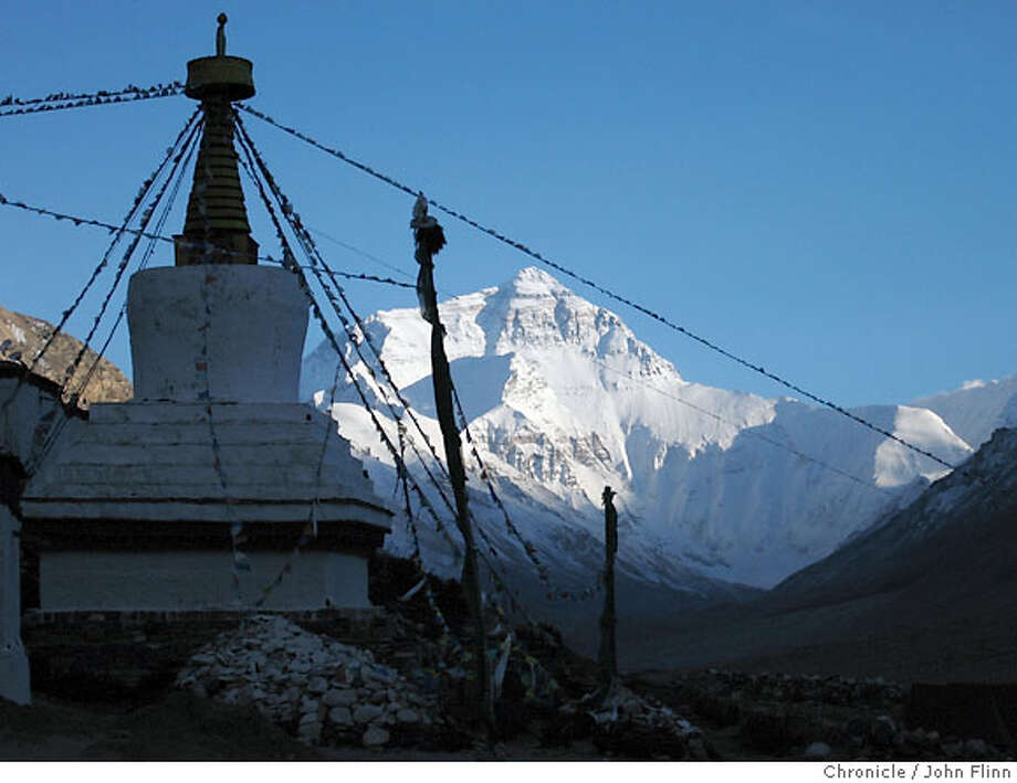 TRAVEL TIBET -- The Rongbuk Monastery and the north face of Everest. Photo: John Flinn